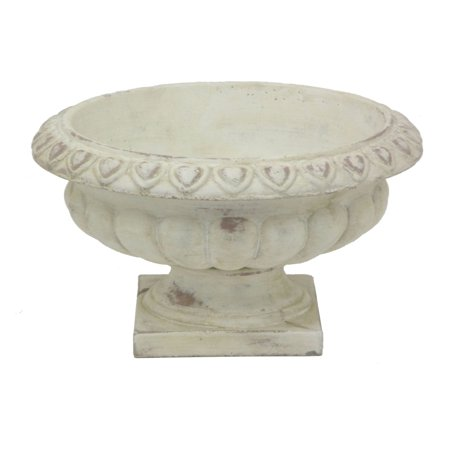Footed Urn - Three Hands Detailed Tuscan White Wash Indoor/Outdoor Decorative Planter