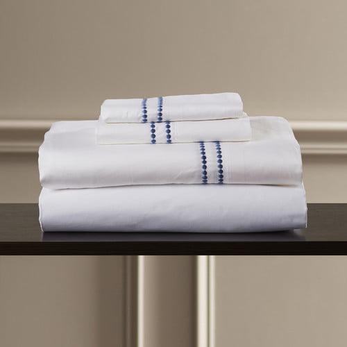 Eider & Ivory Bridger 400 Thread Count Dot Embroidered Cotton Deep Pocket Sheet Set