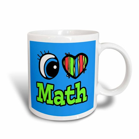 3dRose Bright Eye Heart I Love Math, Ceramic Mug, 15-ounce