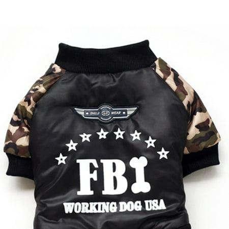 Dog Four Leg Dress Coat FBI-Printing Letter Camouflage Jumpsuit Cotton Coat - image 2 de 7