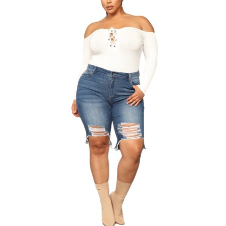 New Women Mid Waist Skinny Stretch Jeans Jegging Shorts Capri Cropped Zip Pants Ladies Plus Size Vintage Ripped Summer Denim Jean Shorts Trouser