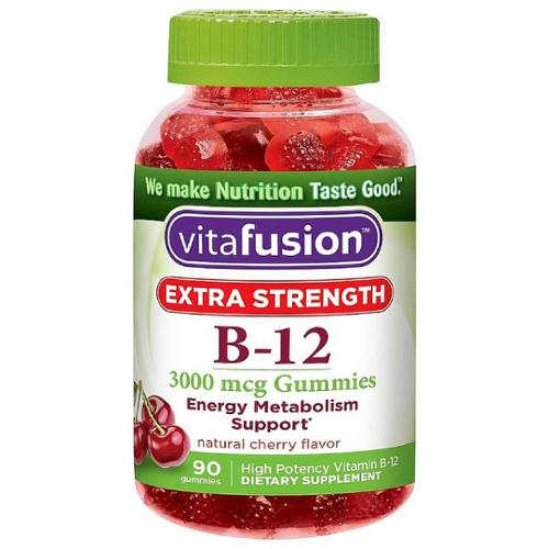 Vitafusion Extra Strength B-12 Gummies, Natural Cherry 90 ea (Pack of 2)