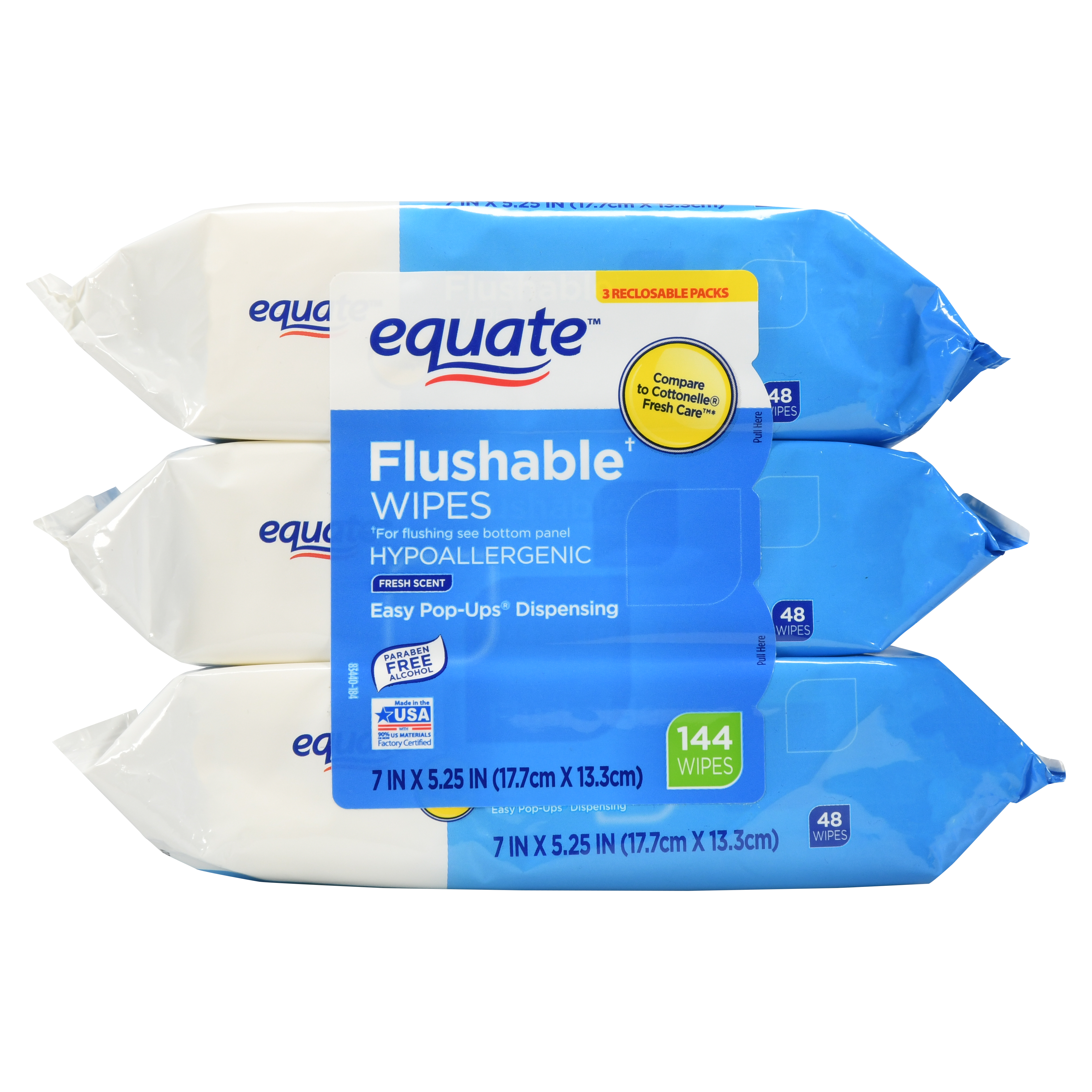 Equate Flushable Wipes, Fresh Scent, 48 Ct, 3 Pack