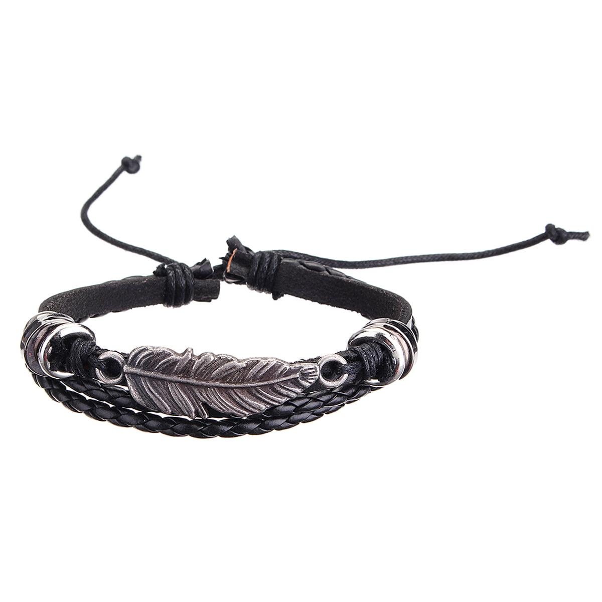 Mens Womens Stretch Multi Row Leather Bracelets Surfer Bead Wristband Adjustable