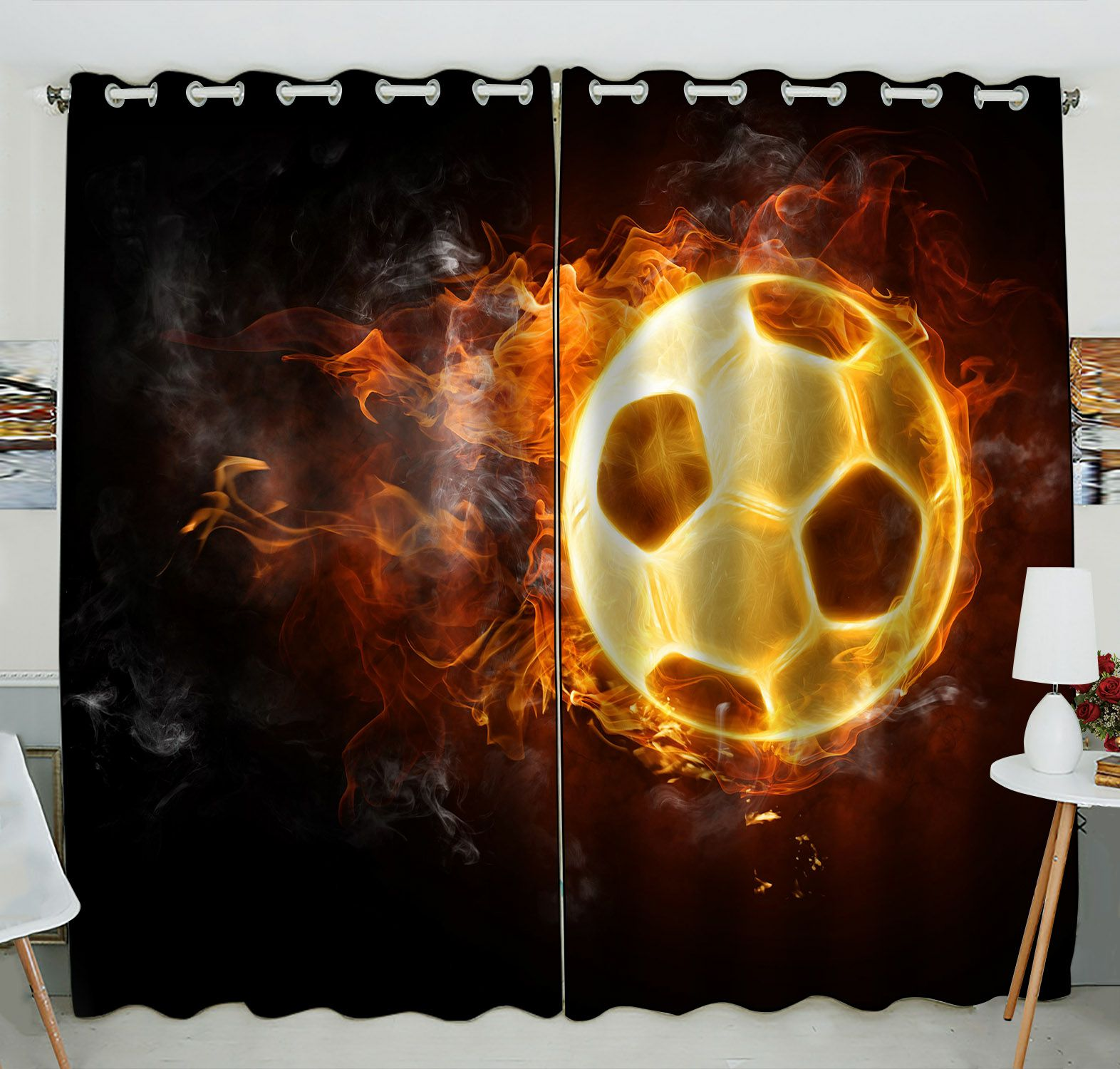 ZKGK Soccer Ball Art On Fire Window Curtain Drapery/Panels/Treatment For Living Room Bedroom Kids Rooms 52x84 inches Two Panel