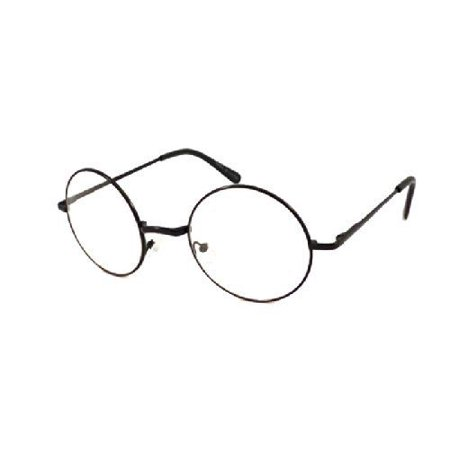 JOHN LENNON costume Circle Round Retro Large Metal Frame Clear Lens Eye Glasses, - Black Circle Glasses