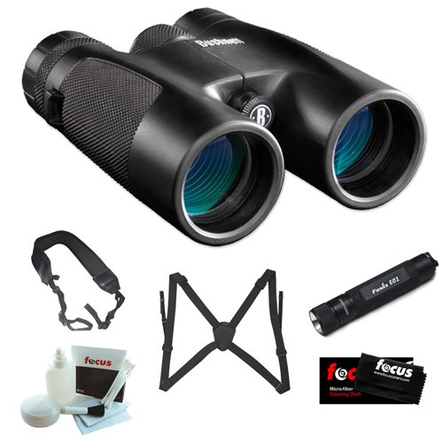 Bushnell 141042C Powerview 10X42mm Roof Prism Clam Binocular + Fenix E01 Compact Keychain LED Flashlight in Black +... by Bushnell