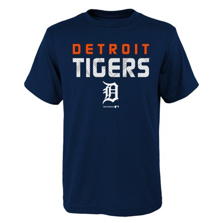 Detroit Tigers Baseball Park (MLB Detroit TIGERS TEE Short Sleeve Boys Team Name and LOGO 100% Cotton Team Color 4-18)