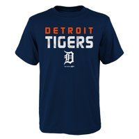 MLB Detroit TIGERS TEE Short Sleeve Boys Team Name and LOGO 100% Cotton Team Color 4-18
