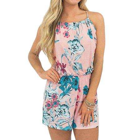 STARVNC Women Halter Neck Tie Back Sleeveless High Waist Floral Print Playsuit Romper