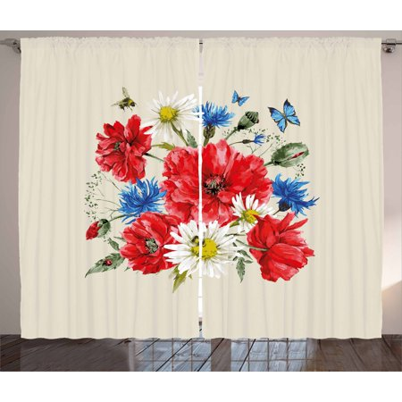 Flowers Curtains 2 Panels Set, Vintage Watercolor Bouquet of Wildflowers Poppies Daisies Cornflowers Butterflies, Window Drapes for Living Room Bedroom, 108W X 96L Inches, Multicolor, by (Dancing Daisy Panel)