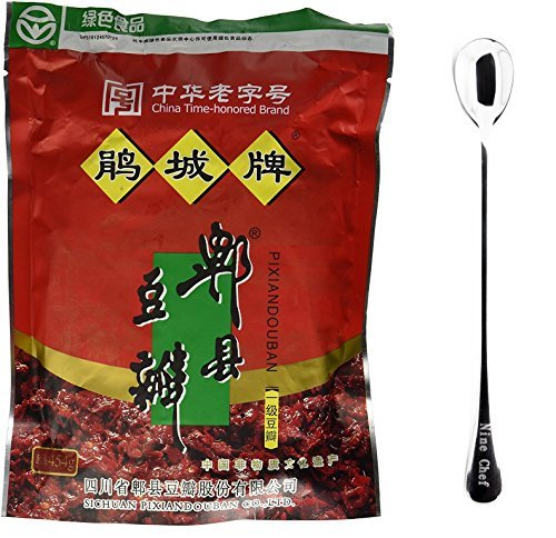 Juan Cheng Sichuan Pixian Broad Bean Paste (large) 16oz (6 Pack) + One NineChef Spoon