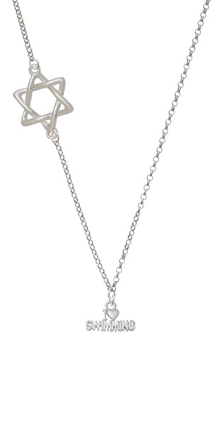 I Heart Swimming Delicate Star of David Necklace by Delight and Co.