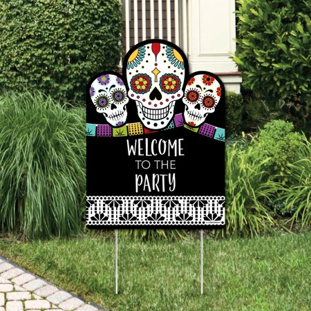 Day Of The Dead - Party Decorations - Halloween Sugar Skull Party Welcome Yard Sign