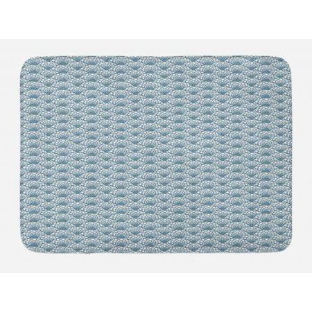 (Scale Bath Mat, Hand Drawn Fish Skin Pattern Geometric Half Circles Antique Vintage Inspirations, Non-Slip Plush Mat Bathroom Kitchen Laundry Room Decor, 29.5 X 17.5 Inches, Teal White, Ambesonne)