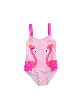 6f5427be93 Product Image Kids Toddler Girls Swan Print One Piece Swimsuits Ruffle Bathing  Suit Beachwear. Gaono