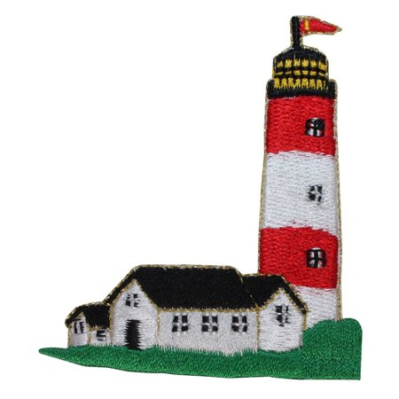 ID 1841 Lighthouse With Keeper Cabin Patch Nautical Embroidered Iron On - Iron Cabin