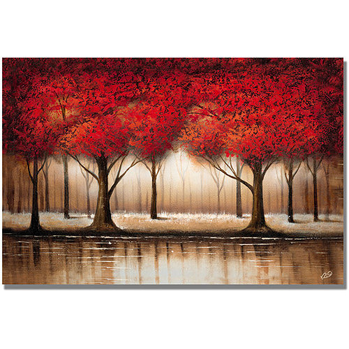 "Trademark Fine Art ""Parade of Red Trees"" Canvas Art by Rio"