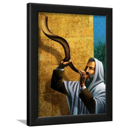 Rosh Hashanah Shofar (Man Blowing Shofar for Rosh Hashanah Framed Print Wall Art )
