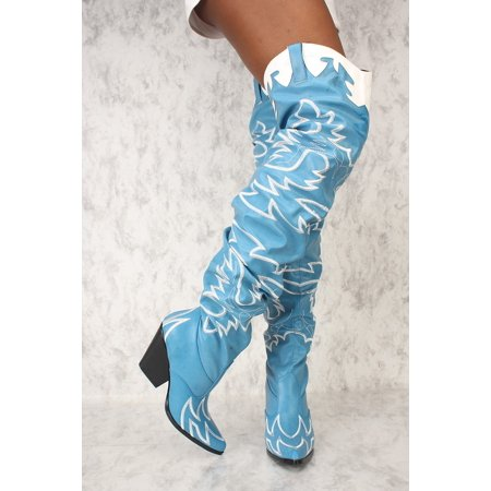 Cape Robbin Kelsey-21 BLUE STITCH ROCK STAR WESTERN POINTED OVER KNEE THIGH BOOT (Western Rock)