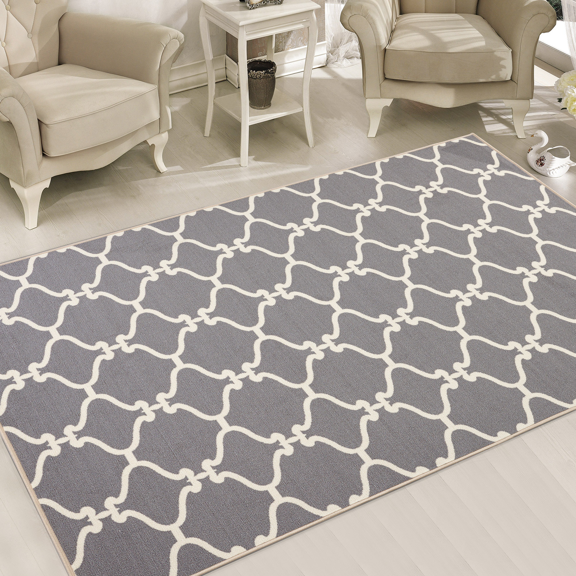 Sweet Home Stores Clifton Collection Moroccan Geometric Trellis Design Living and Bedroom Felt Back Area Rugs