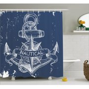 Marine Shower Curtain Nautical Knot Comp Anchor Pattern Sea World Ocean Life Grunge Ilration