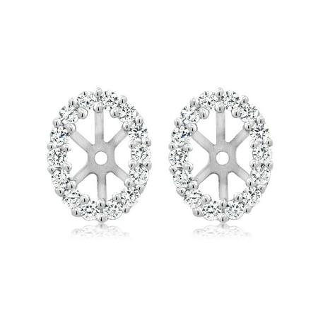 6x4mm Oval Garnet Earring (925 Sterling Silver Women's Earring Jackets for 6X4MM Oval Shape Studs )