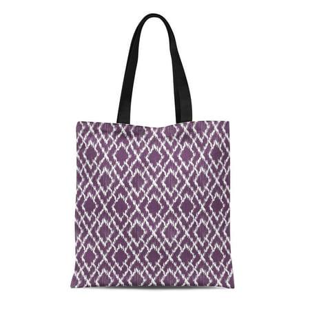 ASHLEIGH Canvas Tote Bag Aztec Plum Purple Tribal Ikat Geo Pattern Zigzag Cute Reusable Handbag Shoulder Grocery Shopping Bags