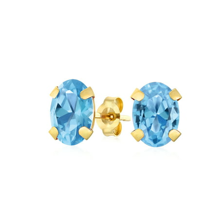1.6CT Gemstone Oval Shaped Swiss Blue Topaz Stud Earrings For Women Real 14K Yellow Gold 7X5MM December Birthstone
