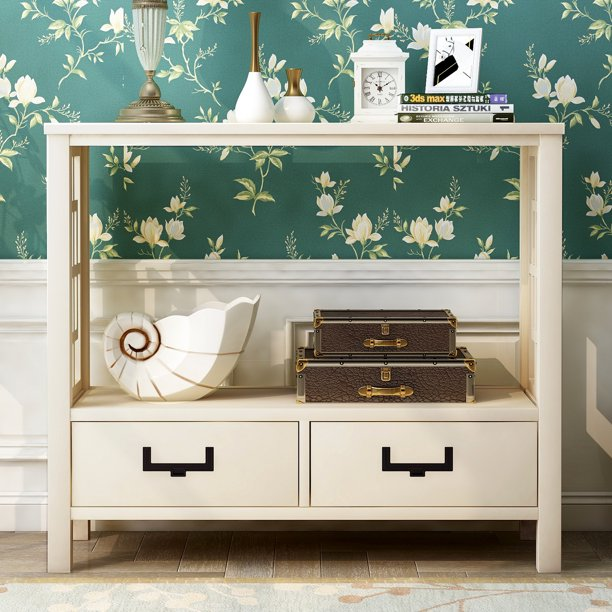 """36"""" Console Table Modern Sofa Table Solid Wood Sideboard Storage"""