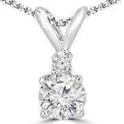 Majesty Diamonds Solitaire Round Diamond Pendant Necklace in 14K White Gold With Chain, 0. 14 Carat