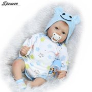 """Spencer 55cm 22"""" Lifelike Reborn Baby Doll Realistic Silicone Lovely Boy and Girl Babys Xmas Gift """"Blue"""""""
