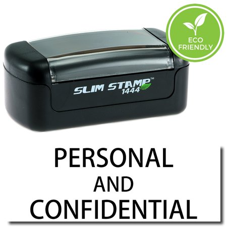 Slim Pre-Inked Personal Confidential Stamp with Black Ink