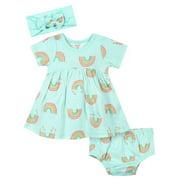 Gerber Baby Girl Dress, Diaper Cover, and Headband Set, 3pc