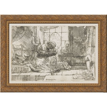 Rembrandt Cat Charm - The Virgin and the child with the cat and snake 24x20 Gold Ornate Wood Framed Canvas Art by Rembrandt