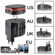 Universal Power Adapter Electric Converter US/AU/UK/EU World USB Travel Plug New