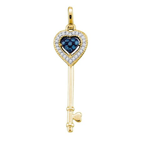 10kt Yellow Gold Womens Round Blue Colored Diamond Key Love Pendant 1/10 Cttw = .1 Cttw (I3 Clarity, round cut)