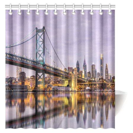 MYPOP Ben Franklin Bridge and Philadelphia Skyline Reflected in the Delaware River under a Purple Twilight Fabric Bathroom Set with Hooks, 66 X 72 Inches