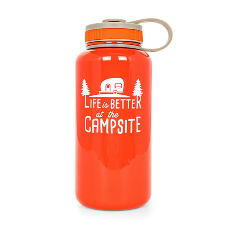 Camco Life is Better at The Campsite Tritan BPA Free Reusable Water Leak Proof Lid-32 oz. Bottle, Opaque Red 53271