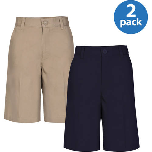 REAL SCHOOL Boys Husky Size Flat Front Shorts School Uniform Approved 2-Pack Value Bundle