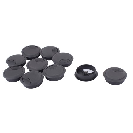 10pcs 52mm dia plastic computer desk grommet wire cord cable hole cover black. Black Bedroom Furniture Sets. Home Design Ideas