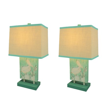 Pelican Lamp (Turquoise and White Pelican Table Lamp with Linen Look Shade Set of 2)