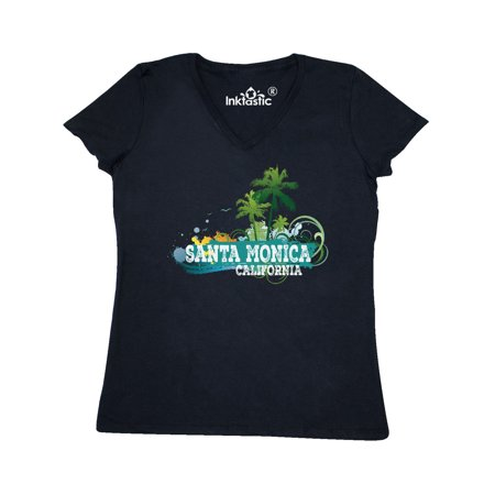 Santa Monica California CA Beach City Travel Women's V-Neck T-Shirt (Party City Santa Monica)