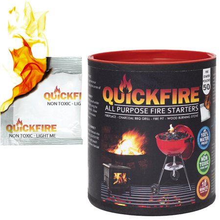 (QuickFire, Instant Fire Starters. Voted #1 Camping And Charcoal BBQ Fire Starter of 2016. Waterproof, Odorless And Non-Toxic. (50pk))
