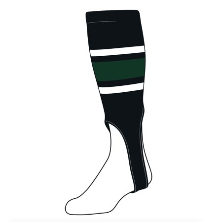 TCK Baseball Stirrups Large (300E, 7in) Black, White, Dk Green