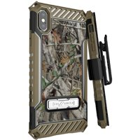 """iPhone Xs Max Case with Clip, Autumn Camo Tree Leaf Real Woods Camouflage Cover and Belt Hip Holster [Metal Kickstand + Wrist Strap Lanyard] for Apple iPhone Xs Max (Size 6.5"""" model) (iPhone 10s Max)"""