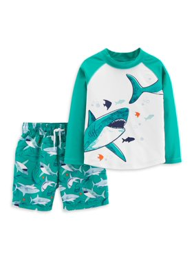 Child of Mine by Carter's Baby Toddler Boy Rash Guard & Swim Trunks, 2pc Set