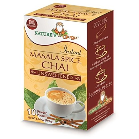 Instant Masala Chai Powder, Unsweetened - 10 Packets (5.64 oz / 160 Grams) by