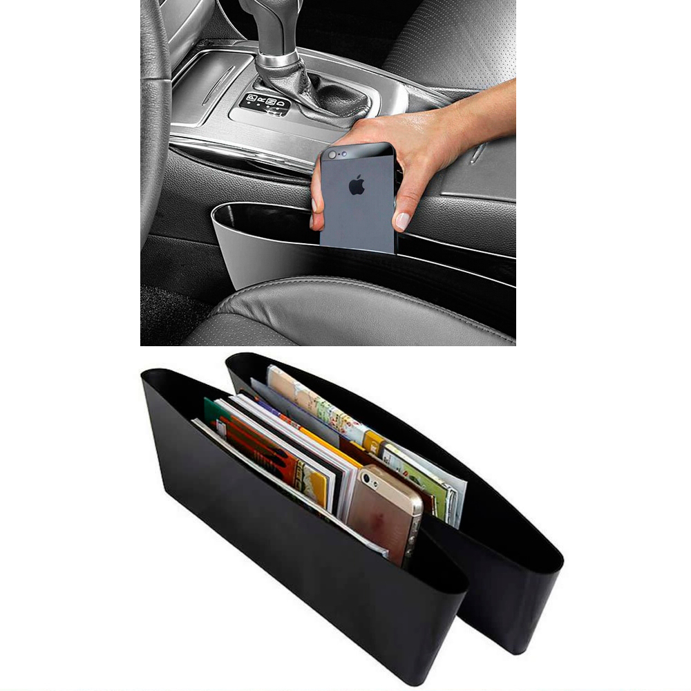2 Pc Console Filler Seat Catcher Box Caddy Car Organizer Gap Slit Pocket Storage