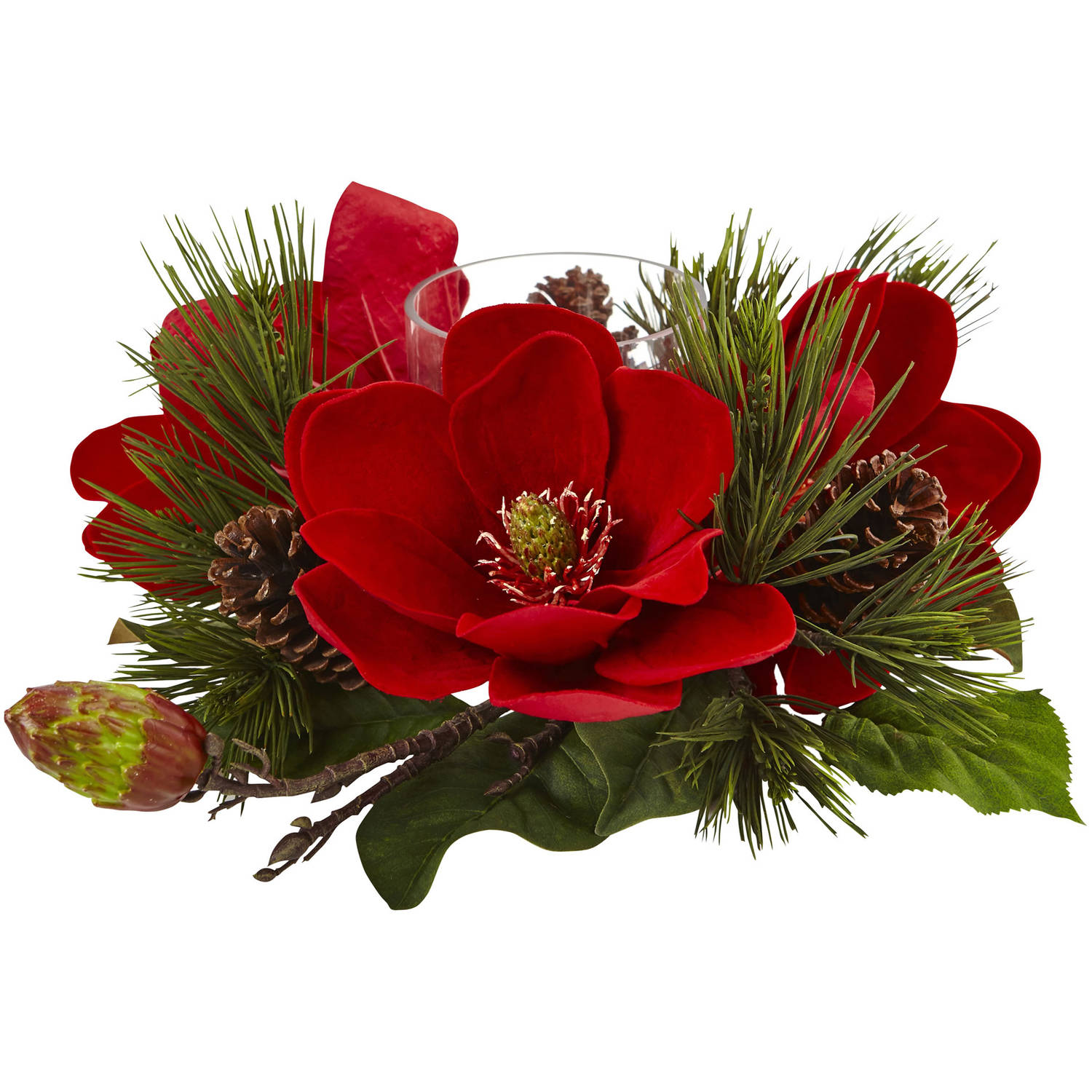 Nearly Natural Red Magnolia and Pine Candelabrum